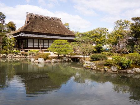 tea house: Tea house and pond in Isuien garden, Nara Editorial