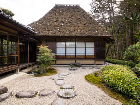 karesansui: Japanese rock garden with tea house