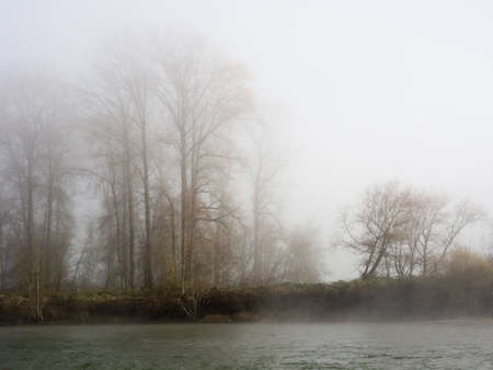 in wa: Fog over Snoqualmie river near the town of Carnation, WA