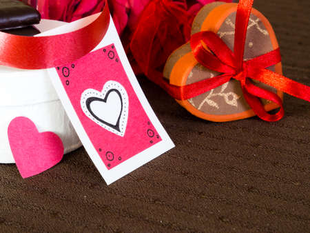 handcrafted: Heart shaped gift box with handcrafted tag for Valentines day Stock Photo