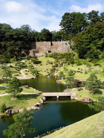 borrowed: Kanazawa, Japan - September 28, 2015: Traditional Japanese garden Gyokusen-in garden on the grounds of historic Kanazawa castle Editorial
