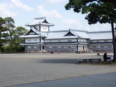 visitors: Kanazawa, Japan - September 28, 2015: Visitors picnicking on the grounds of historic Kanazawa castle