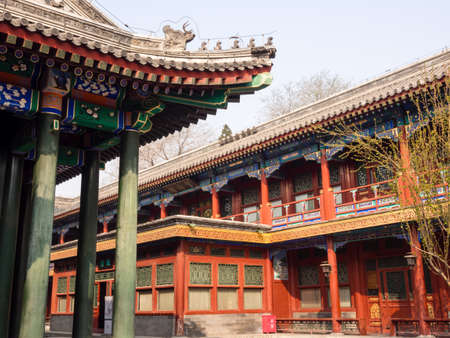 chinese courtyard: Colorful Chinese courtyard in Prince Gong palace, Beijing