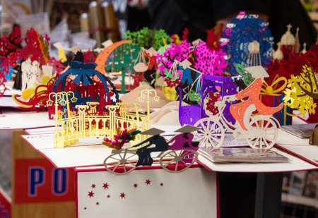 popup: Hanoi, Vietnam - March 7, 2016: Vietnamese 3D pop-up cards selling on the streets