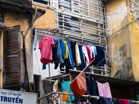 run down: Hanoi, Vietnam - March 7, 2016: Run down house in the Old Quarter