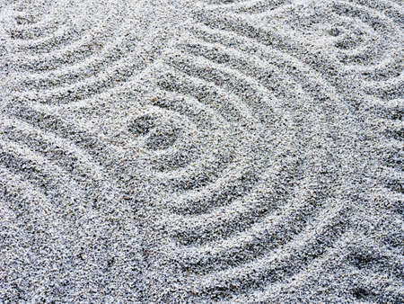 karesansui: Wavy sand pattern in Japanese rock garden