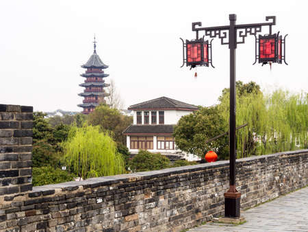 View of Ruiguang pagoda from Panmen gate - Suzhou, China Stock Photo