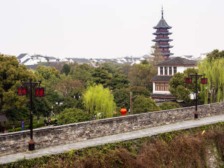 Suzhou, China - March 21, 2016: View of Ruiguang pagoda from Panmen gate - Suzhou, China
