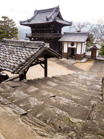 no entrance: On the grounds of Koshoji buddhist temple in historic Uchiko town, Shikoku, Japan