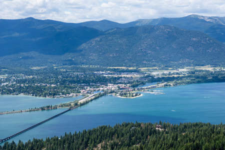 View of Lake Pend Oreille and the town of Sandpoint, Idaho, from the top of the mountain Stock fotó - 81031458