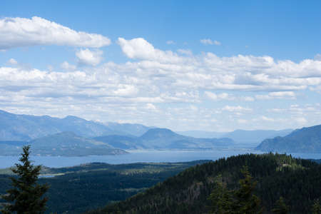 View of Lake Pend Oreille from the top of the mountain near Sandpoint, Idaho Stock Photo