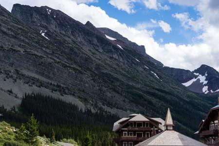 Alpine scenery at Many Glacier area of Glacier National Park, with Many Glacier Hotel - Montana, USA