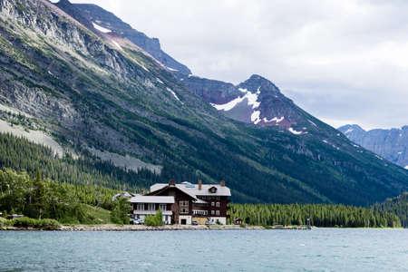 Alpine scenery in Many Glacier area of Glacier National Park in Montana, USA