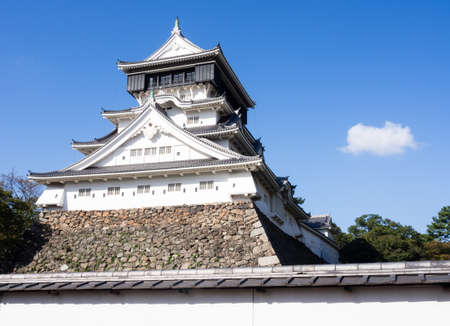 White tower of Kokura castle in Kitakyushu, Japan