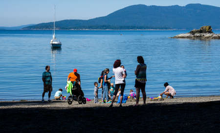 Bellingham, USA - May 28, 2017: Families enjoying a holiday weekend at Larrabee state park
