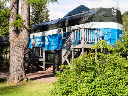 Essex, Montana - July 7, 2016: Old locomotive turned into luxury accommodation at Izaak Walton Hotel