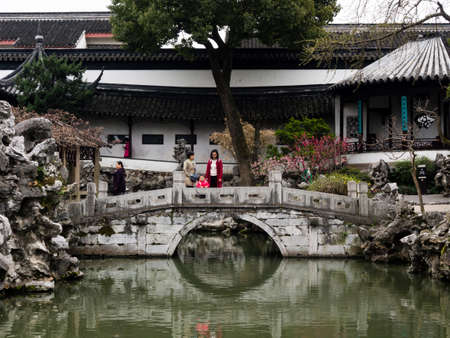 Suzhou, China - March 23, 2016: Springtime in Lion Grove Garden, a classical Chinese garden and part of Unesco World Heritage in Suzhou