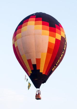 Saga, Japan - November 4, 2016: Colorful hot air balloon flying in the sky during Saga International Balloon Fiesta
