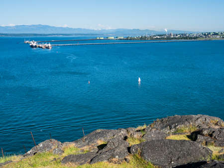 Views from Cap Sante park at Anacortes, WA, with Marathon Anacortes Refinery at the background Stock Photo