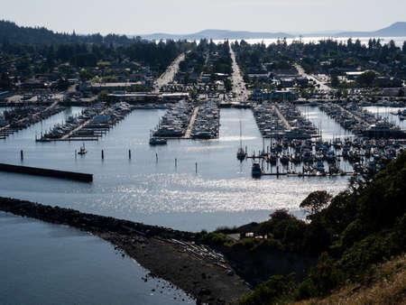 View of Anacortes marina at sunset - Washington state, USA