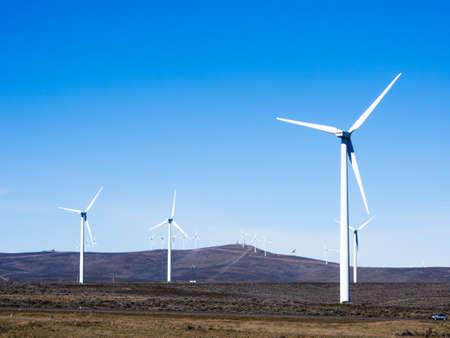 Wind turbines in Columbia River Gorge near Ellensburg, Washington state