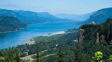 Panoramic view of Columbia River Gorge with Crown Point Vista House from Womens Forum scenic viewpoint - Oregon, USA