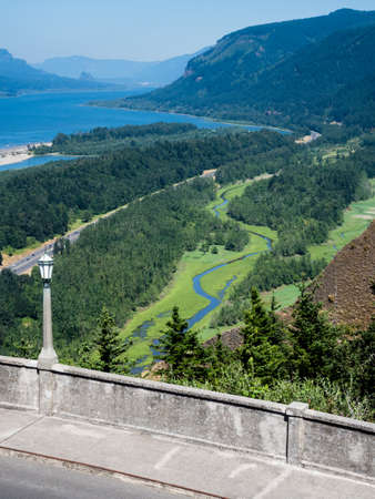 Panoramic view of Columbia River Gorge from Crown Point Vista House  - Oregon, USA Stock Photo