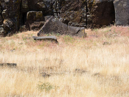 Ancient Native American petroglyphs in Columbia Hills State Park, WA, USA