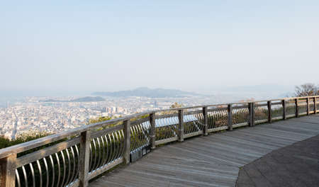 Observation viewpoint at the top of Mount Bizan with panoramic views of Tokushima city - Tokushima prefecture, Japan 免版税图像