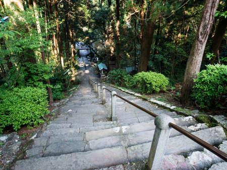 Steep stairs leading to the main hall of Shoryuji, temple number 36 of Shikoku pilgrimage - Kochi, Japan Banco de Imagens