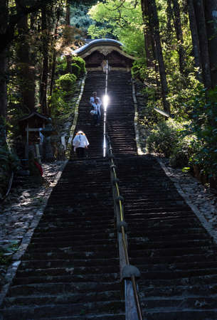 Tosa, Kochi Prefecture, Japan - April 7, 2018: O-henro pilgrims climbing the steep stairs leading to the main hall of Shoryuji, temple number 36 of Shikoku pilgrimage Editorial
