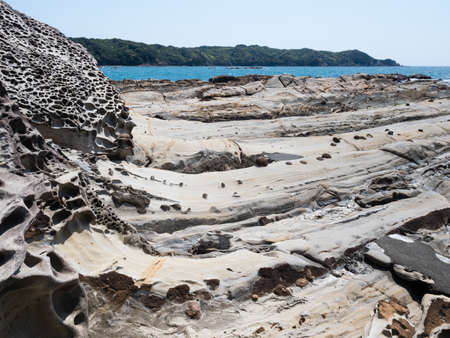 Sandstone rock formations at Tatsukushi coast - a natural scenic landmark near Tosashimizu, Kochi prefecture, Japan