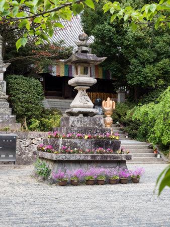 Matsuyama, Ehime prefecture, Japan - April 10, 2018: On the grounds of Ishiteji, temple number 51 of Shikoku pilgrimage