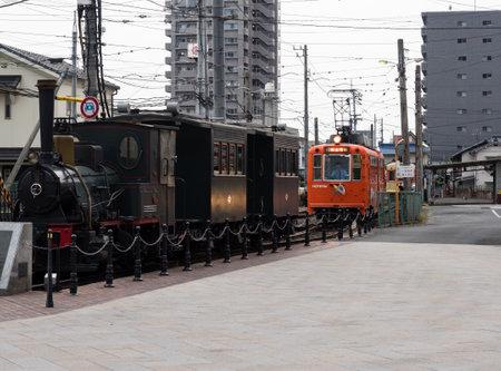 Matsuyama, Ehime prefecture, Japan - April 10, 2018: Botchan steam locomotive exhibited at Dogo Onsen station