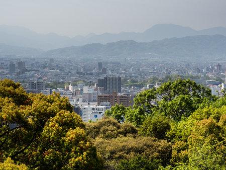 Matsuyama, Ehime prefecture, Japan - April 11, 2018: Panoramic city view from Matsuyama Castle Redakční