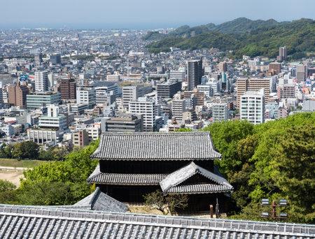 Matsuyama, Ehime prefecture, Japan - April 11, 2018: Panoramic view from the top of Matsuyama Castle Redakční