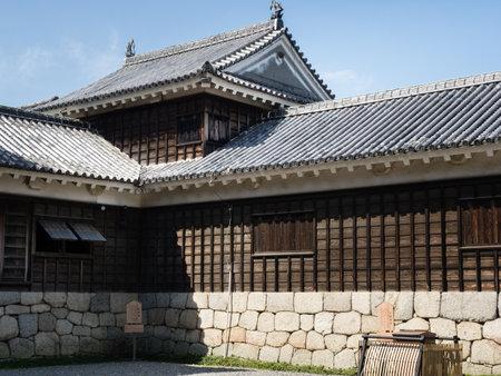 Matsuyama, Ehime prefecture, Japan - April 11, 2018: Inner courtyard of historic Matsuyama Castle, one of 12 original castles of Japan