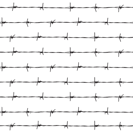 Barbed wire on a white background - seamless background. Vector illustration