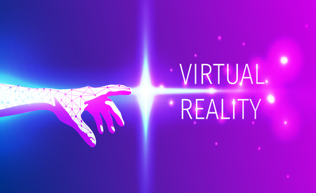 virtualization: Futuristic hand touch of virtual reality space. Vector illustration. High tech concept Illustration