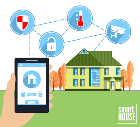 holding smart phone: Smart home vector concept. Hand holding smart phone with house control application. Illustration of intrnet of things, elements and icons in flat style. Illustration