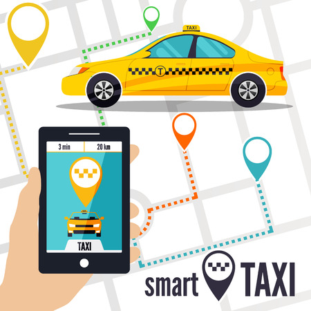ordering: Vector illustration of a smart taxi concept. Smartphone with taxi service application on a screen, yellow cab, street map and location pointer on a background. Taxi ordering interface. Illustration