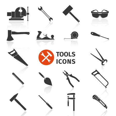 jack plane: Set of black construction tools icons for working around the house and in the garden - vector illustration