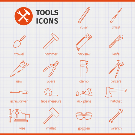 hand outline: Outline web icons set - building hand tools for working around the house and in the garden. Vector illustration.