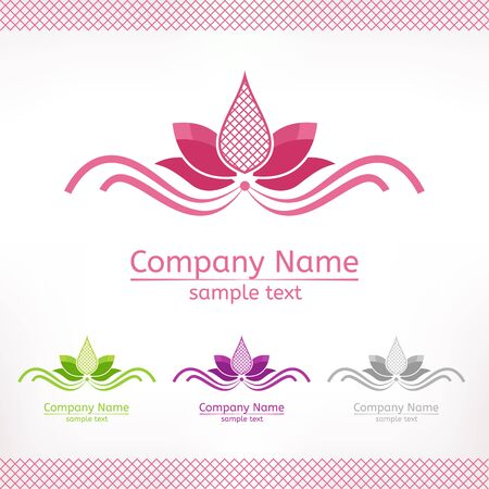 Stylized pink lotus flower, template logo design in green purple and grey version