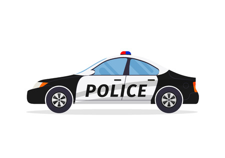 Police car on white background. Flat styled vector illustration.