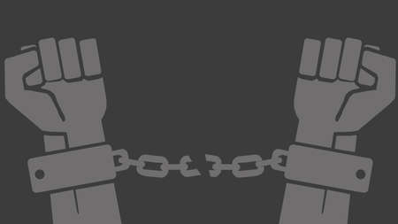prison break: Vector hands in shackles with broken chain