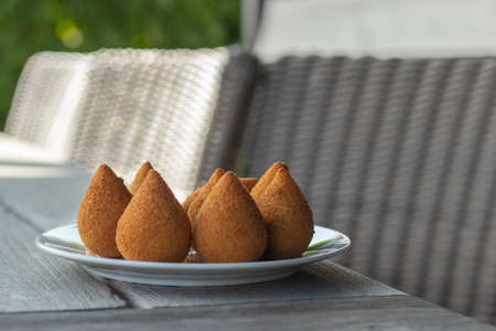 coxinhas, brazilian party finger food fried snack, stuffed with chicken