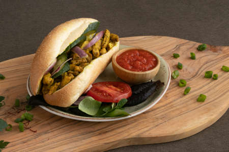 chicken curry Sandwich with salad Stock fotó