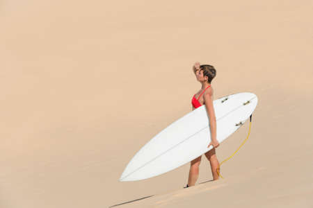 Rear view of beautiful young woman surfer girl in bikini with white surfboard on a beach in desert photo