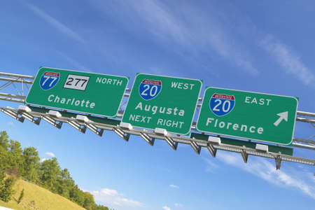 augusta: Interstate Highway Signs to Florence and Augusta Georgia at Intersection of Interstate 20 and 77 in Southeast of USA